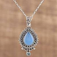 Chalcedony and blue topaz pendant necklace, 'Soul's Serenity' - Handcrafted Blue Chalcedony Pendant Necklace from India