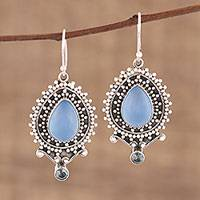 Chalcedony and blue topaz dangle earrings, 'Tranquil Day' - Chalcedony and Blue Topaz Dangle Earrings from India