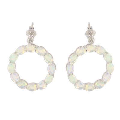 Opal and Diamond Drop Earrings Handcrafted in India