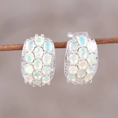 Opal and diamond drop earrings, 'Ethereal Wonder' - Opal and Diamond Drop Earrings Handcrafted in India