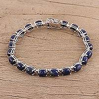 Lapis lazuli link bracelet, 'Azure Spell' - Lapis Lazuli and Sterling Silver Link Bracelet from India
