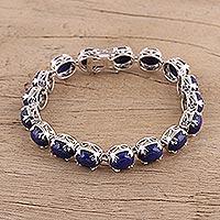 Lapis lazuli link bracelet, 'Celestial Wonder' (India)