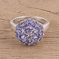 Tanzanite cocktail ring, 'Lavender Blossom' - Tanzanite Sterling Silver Cocktail Ring Handmade in India