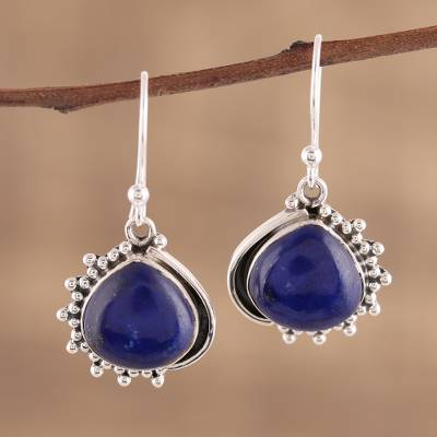 Lapis lazuli dangle earrings, 'Blue Daydream' - Handmade Lapis Lazuli 925 Sterling Silver Dangle Earrings