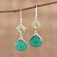 Onyx and peridot dangle earrings, 'Green Majesty' - Handmade 925 Sterling Silver Green Onyx Peridot Earrings