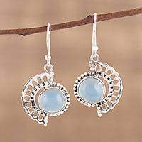 Chalcedony dangle earrings, 'Crescent Flower' - Handmade 925 Sterling Silver Blue Chalcedony Earrings India