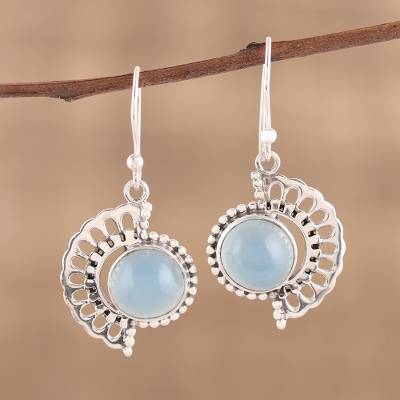 Chalcedony dangle earrings, Crescent Flower