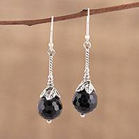 Onyx dangle earrings, 'Midnight Flower' - Handmade Onyx 925 Sterling Silver Dangle Earrings India