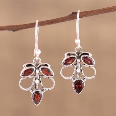 Garnet dangle earrings, 'Burnt Leaves' - Handmade 925 Sterling Silver Garnet Autumn Leaf Earrings