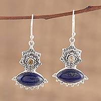 Lapis lazuli and citrine dangle earrings, 'Floral Gaze' - Handmade 925 Sterling Silver Lapis Lazuli Citrine Earrings