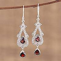 Garnet dangle earrings, 'Dazzling Enchantment' - 925 Sterling Silver Cubic Zirconia Garnet Dangle Earrings