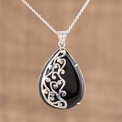 Onyx pendant necklace, 'Mystical Dangle' - Handmade Black Onyx 925 Sterling Silver Pendant Necklace