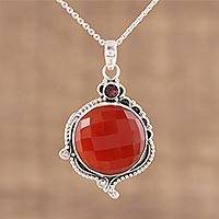 Carnelian and garnet pendant necklace, 'Sunset Glamour' - 925 Sterling Silver Faceted Carnelian and Garnet Necklace
