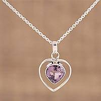 Amethyst pendant necklace, 'Shimmering Lilac' - 925 Sterling Silver Faceted Amethyst Heart Pendant Necklace