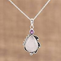 Rainbow moonstone and amethyst pendant necklace, 'Divine Antique' - 925 Sterling Silver Rainbow Moonstone Amethyst Necklace