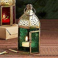 Embossed glass lantern, 'Festival Nights- Green'  - Indian Embossed Green Glass Lantern