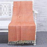 Silk throw blanket, 'Sunset Flare' - 100% Silk Woven Orange Throw Blanket from India