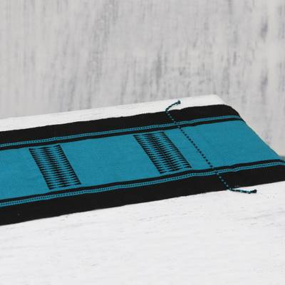 Cotton table runner, 'Teal Delight' - Handwoven Cotton Table Runner in Teal and Black from India