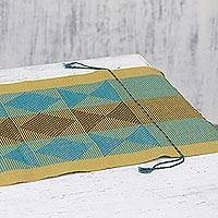 Cotton tablerunner, 'Elegant Earth' - Handwoven Triangle Motif Cotton Tablerunner from India