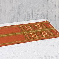 Cotton tablerunner, 'Pumpkin Morning' - Handwoven Cotton Tablerunner in Pumpkin from India