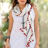 Silk and cotton blend shawl, 'Blissful Simplicity' - Hand Woven Silk Cotton Blend White Shawl with Red Tassels