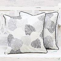 Cotton cushion covers, 'Floating Leaves' (pair) - Handmade 100% Cotton Leaf Pattern Cushion Covers