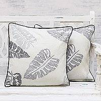 Cotton cushion covers, 'Bengal Delight' (pair) - 100% Cotton Betal Leaf Pattern Neutral Cushion Covers Pair