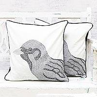 Cotton cushion covers, 'Magnificent Sparrow' (pair) - 100% Cotton Sparrow Pattern Neutral Cushion Covers Pair