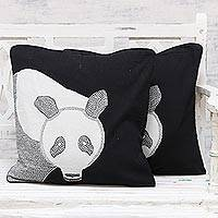 Cotton cushion covers, 'Panda Delight' (pair) - 100% Cotton Panda Pattern Neutral Cushion Covers Pair