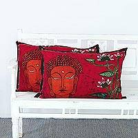 Batik cotton cushion covers, 'Floral Buddha' (pair) - Two Batik Cotton Cushion Covers of Buddha from India