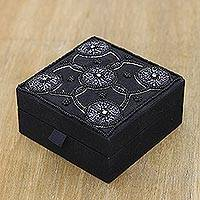 Cotton jewelry box, 'Midnight Blooms' - Handmade Black Cotton Beaded Jewelry Box from India