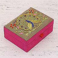 Cotton and velvet jewelry box, 'Peacock Paradise' - Handmade Cotton and Velvet Embroidered Peacock Jewelry Box