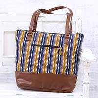Cotton shoulder bag, 'Stylish Stripes' - Indian Handmade Multi-Colored Cotton Striped Shoulder Bag