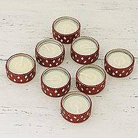 Resin tealight candle holders, 'Festive Glamour' (set of 8) - Set of 8 Red Festive Tealight Candle Holders from India