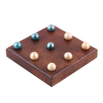 Handmade Mango Wood and Glass Tic-Tac-Toe Game Set