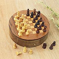 Wood mini chess set,