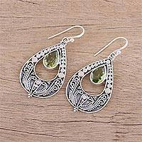 Peridot dangle earrings, 'Palace Charm' - Hand Crafted Peridot and Sterling Silver Dangle Earrings