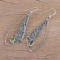 Peridot dangle earrings, 'Ethereal Wings' - Hand Crafted Peridot and Sterling Silver Dangle Earrings