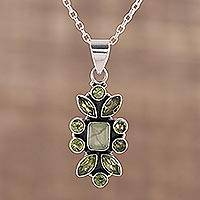 Peridot and prehnite pendant necklace, 'Verdant Oasis' - Indian Peridot and Prehnite Sterling Silver Pendant Necklace