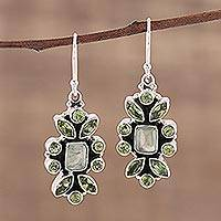 Peridot and prehnite dangle earrings, 'Verdant Oasis' - Indian Peridot and Prehnite Sterling Silver Dangle Earrings