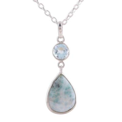 Dazzling Larimar and Blue Topaz Pendant Necklace from India