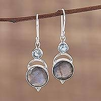 Labradorite and blue topaz dangle earrings,