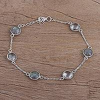 Labradorite and blue topaz station bracelet,