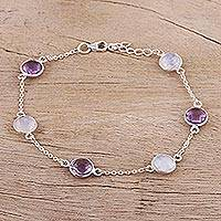 Rainbow moonstone and amethyst station bracelet, 'Eternal Opulence' - Rainbow Moonstone and Amethyst Sterling Silver Link Bracelet