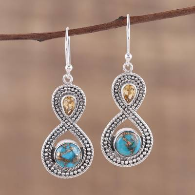 Citrine dangle earrings, 'Dazzling Infinity' - Indian Citrine and Composite Turquoise Dangle Earrings