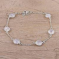 Rainbow moonstone station bracelet, 'Glacial Opulence' - Rainbow Moonstone and Sterling Silver Station Bracelet