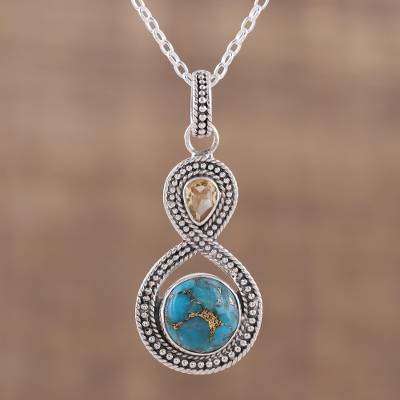 Citrine pendant necklace, 'Dazzling Infinity' - Indian Citrine and Composite Turquoise Pendant Necklace