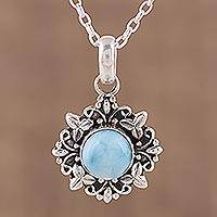 Larimar pendant necklace, 'Ethereal Eden' - Larimar and Sterling Silver Pendant Necklace from India