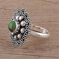 Sterling silver cocktail ring, 'Flower of Eden' - Green Composite Turquoise and Sterling Silver Cocktail Ring