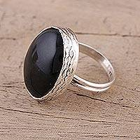 Onyx cocktail ring, 'Dazzling Twilight' - Onyx and Sterling Silver Cocktail Ring Handmade in India